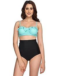 Nidhi Munim Mint Black Flouncy Highwaisted Bikini Top For Women