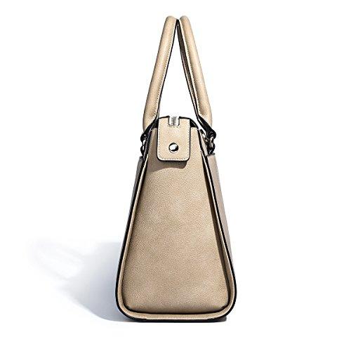 3d429a7f508fc ... Kadell PU Leder Frauen Handtaschen für Damen Luxus Top Griff Schulter  Geldbörse Nickel schwarz Hellbraun ...