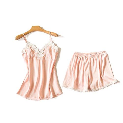 ALUK- Versione coreana delle donne del merletto sling camicia da notte sexy pigiama slim ( Colore : Blu scuro , dimensioni : L. ) Rosa