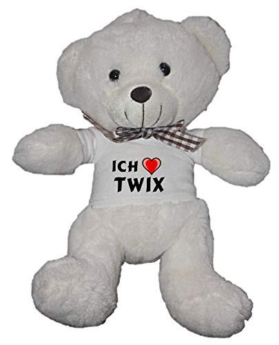 SHOPZEUS Personalisierter Weiß Bär Plüschtier mit T-Shirt mit Aufschrift Ich Liebe Twix (Vorname/Zuname/Spitzname) (Twix Bars)