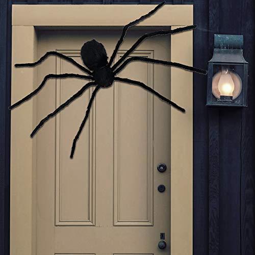 Kompanion Riesige 125CM (4 Fuß) Schwarze Spinne mit LED-Licht Augen, realistische und effektive Halloween Dekoration