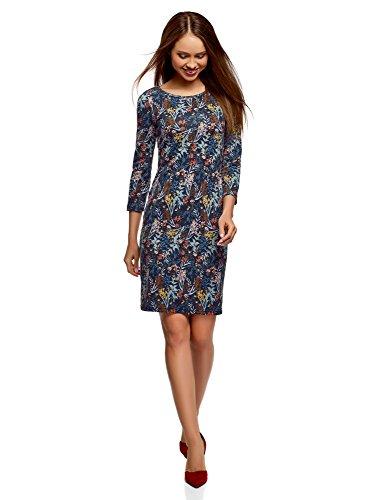 oodji Collection Damen Jersey-Kleid mit Tropfen-Ausschnitt am Rücken, Blau, DE 42 / EU 44 / XL -