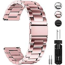 Fullmosa 3 Colores para Correa Metálica de Reloj de Liberación Rápida, Pulsera Reloj de Acero Inoxidable 14mm 16mm 18mm 19mm 20mm 22mm 24mm, Oro Rosa 14mm