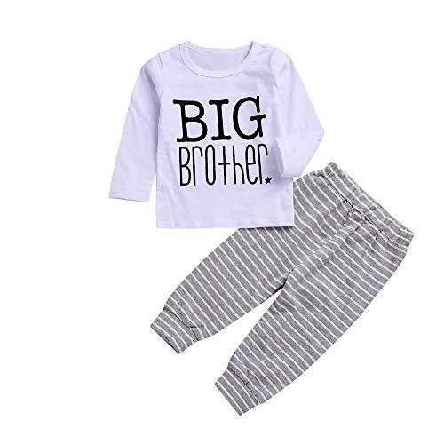 mxjeeio Baby Long Sleeve Brief drucken Big Brother Top T-Shirt + gestreiften Print Hosen Zweiteilige Set (Kleinkind Big-brother-shirt 3t)