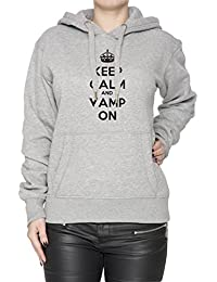 Keep Calm And Vamp On Mujer Sudadera Con Capucha Pullover Gris Algodón Women's Hoodie Sweatshirt Pullover Grey