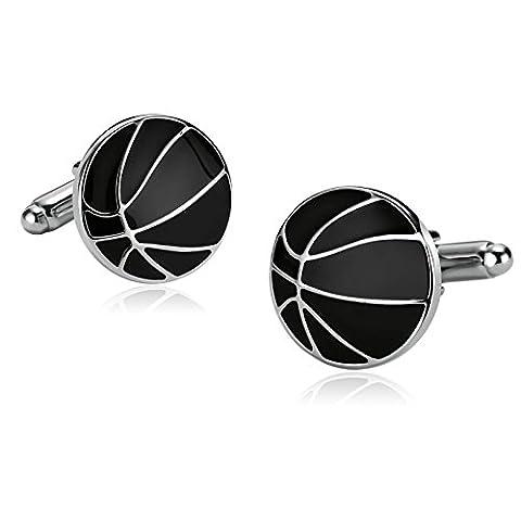 Epinki Acier Inoxydable Boutons De Manchette Pour Homme Ronde Basket-Ballee Lignes Époxy Argent Noir Pour Homme Shirt