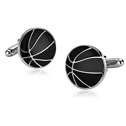 Epinki Acciaio Inossidabile Gemelli Per Uomo Turno Basket Lineaa Epossidica Argento Nero Per Uomo Camicia