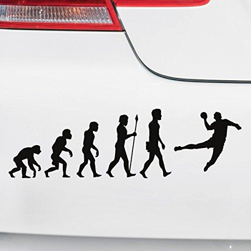 Motoking Autoaufkleber - Lustige Sprüche & Motive für Ihr Auto - Evolution Handball - 25 x 7,5 cm - Weiß Seidenmatt