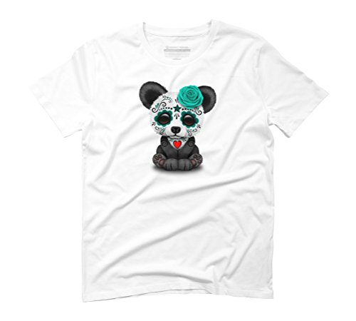 Teal Blue Day of the Dead Sugar Skull Panda Men's Graphic T-Shirt - Design By Humans White