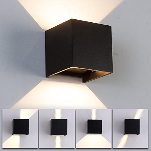 Noir 12 W Applique murale à LED en aluminium IP65 étanche Blanc chaud 3000 K Angle de faisceau réglable pour chambre/salon de jardin Hall Escalier Allée