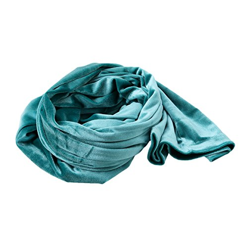 ODN Samt Schal Gewickelte Kopftuch,Tuch, Schultertuch,Long Tail Kappe (Blau-grün)