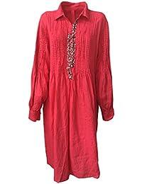 ROBERTA GUERCINI abito donna fragola con applicazioni 100% lino MADE IN  ITALY… c07244d8bc3