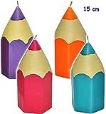 alles-meine.de GmbH 4 Stück _ große Kerzen -  bunter Stift - bunter Farbmix  - 15 cm hoch - Tischkerzen - Geburtstagskerzen / Tischdeko / Schuleinführung - Stifte - Kindergebur..