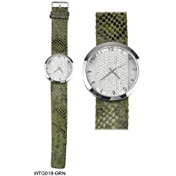 Diamante Encrusted Round Face Ladies Watch with Green Snakeskin Pattern Strap