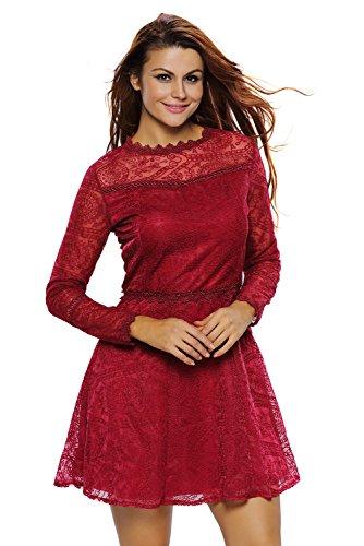 ILFtrend Lange Ärmel Spitze Kleid Partykleider Skater Kleid Rot
