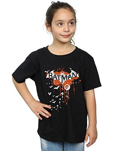 DC Comics niñas Batman Arkham Knight Halloween Logo Art Camiseta 9-11 Years Negro