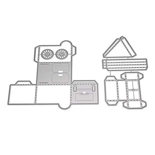 Happyhouse DIY Stanzformen Metall Prägung Schablonen niedlich Eiscreme Trunk DIY Papier Kunst Stanzform Handwerk Prägung Schablone - Silber