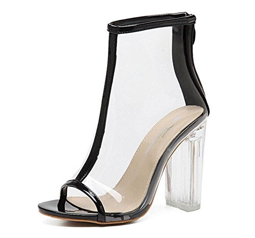 GLTER Frauen Pumps Sommer New Wind Transparente dicke coole Stiefel Crystal Sandalen High-Heeled Peep Toe Schuhe Court Schuhe Black