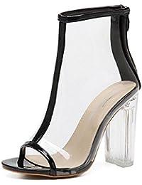 GLTER Mujeres Ankle Strap Bombas Alta Heelssalarios Roma Moda Zapatos Cristal Zapatos Al aire libre Sandalias , black , 36