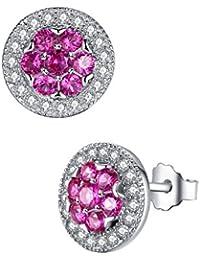Aoiy - Pendientes de las mujeres en plata de ley, flor con creado rubí de color rojo rosado, zce012zh