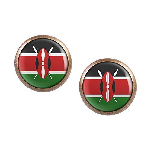 Mylery Ohrstecker Paar mit Motiv Kenia Kenya Nairobi Flagge bronze 12mm -