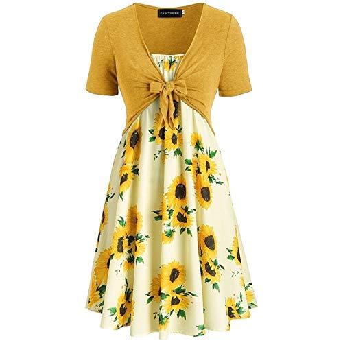 FeiXing158 Plus Size Kleider Frauen Zwei Stücke Sunflower Print Rüschenkleid Mit Soliden - Blue Kleid Shift Royal