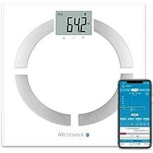 Medisana BS 444 Connect digitale Körperanalysewaage bis 180 kg -  Personenwaage zur Messung von Körperfett, Körperwasser, Muskelmasse und Knochengewicht - Körperfettwaage mit Bluetooth App - 40444
