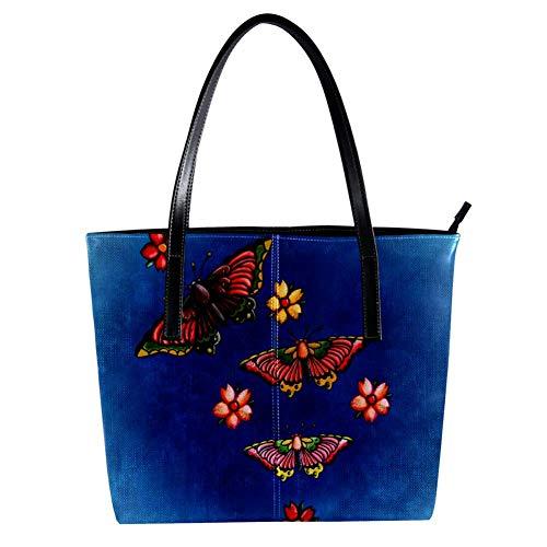 Women's Bag Shoulder Tote handbag with Butterfly print Zipper Purse PU Leather Top-handle Zip Bags -