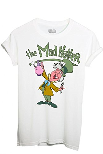 T-SHIRT ALICE THE MAD HATTER-CARTOON by MUSH Dress Your Style - Uomo-XL-BIANCA