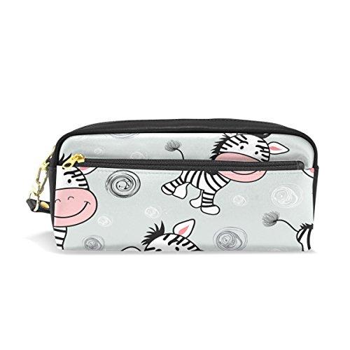 Eslifey cute Zebra modello portatile della pelle PU scuola penna custodia cancelleria matita borse impermeabili cosmetici, trucchi, beauty case
