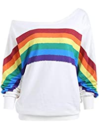 ❤️ Sudadera para Mujer Rainbow,Camisas de Blusa de Manga Larga de impresión de Manga Larga Suelta Sudadera Absolute