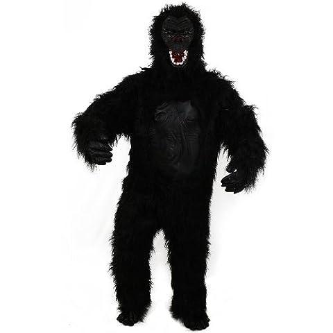 Sofias Closet Erwachsene Herren Gorilla Kostüm Big Foot King Kong Scary Schwarz Furry Fancy Kleid Monkey Hirsch (Deluxe Gorilla-kostüm)