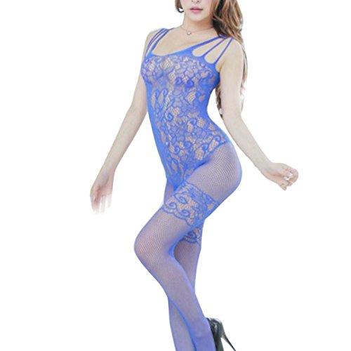 Damen Sexy Mesh Bodystockings Overalls Damen Floral Open Crotch Mesh Bodystockings Bodys (Freie Größe, Blau) (Bodystocking Floral)