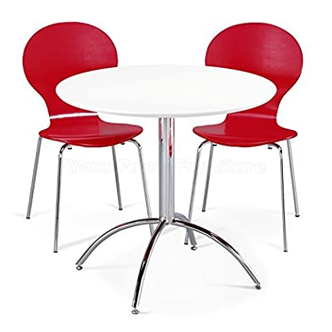 Kimberley Dining Set White Table and 2 Red Chrome Metal Keeler Style Stackable Dining Chairs - Kitchen Cafe Bistro Chairs & Small Round Table by Your Price Furniture