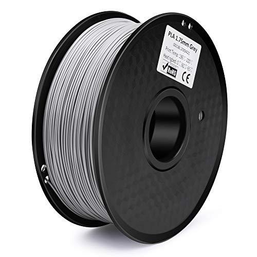 ELEGOO PLA Filamento de Impresora 3D, Precisión Dimensional +/- 0.03 mm, 1kg Carrete, 1.75mm (Gris-plata)
