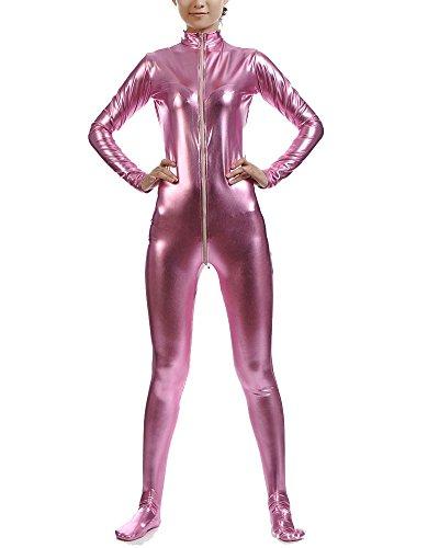 ug Suit Kostüm Shiny Ganzkörperanzug Kostüm Pink Violett XXL ()