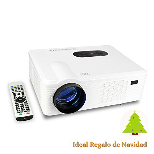 Mileagea HD Proyector LCD LED Full Color 720p 3000 Lúmenes Resolución 1280x800 TV Multimedia Proyector Casero Blanco