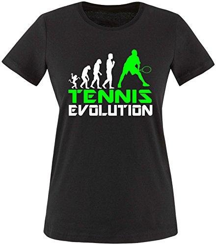 EZYshirt® Tennis Evolution Damen Rundhals T-Shirt Schwarz/Weiss/Neongr