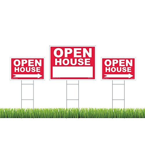 Open House-einsätze (Open House, Kit, (1) 45,7x 61cm Yard Zeichen, (2) 30,5x 45,7cm gerichtete Schilder, (3) Draht Einsatz)