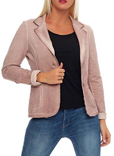 Malito Damen Blazer im Washed Style | Sakko im Basic Look | Kurzjacke mit Knöpfen | Jacke - Jackett - Blouson 1652 (rosa, M)