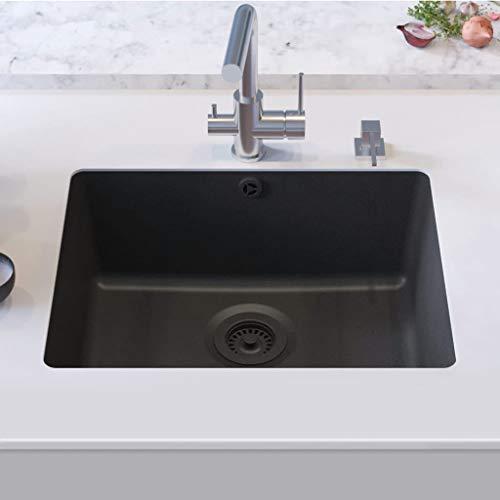Festnight Granitspüle Einzelbecken | Küchenspüle Spüle | Unterbau Spülbecken | Schwarz Granit 1-Becken