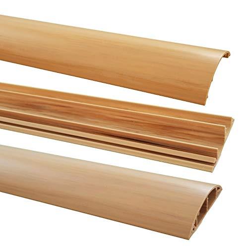 netproshop Fußboden Kabelkanal PVC (Halbrund, Selbstklebend, 70x17mm) (1 Meter), Farbe:Hellbraun Meliert