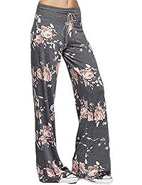 Fashionyoung Mujer Pantalones Vintage Floral con Dibujos Cordón Elasticos  Cintura Yoga Pants Pijama Deporte Pantalón 18d63ff3e2d2