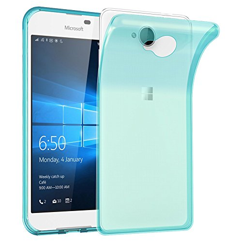 Cadorabo Hülle für Nokia Lumia 650 - Hülle in TRANSPARENT BLAU – Handyhülle aus TPU Silikon im Ultra Slim 'AIR' Design - Silikonhülle Schutzhülle Soft Back Cover Case Bumper