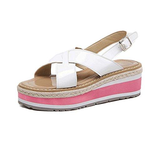 SHEO sandales à talons hauts Pente inférieure épaisse des dents avec gâteau lâche au bout de sandales de mode sauvage ( Couleur : Noir , taille : 35 ) Blanc