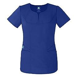 Adar Uniforms Medical Uniforms Women's Curved Pocket Glamour Scrub Top Hospital Workwear, Color Ryl | Size: 3x