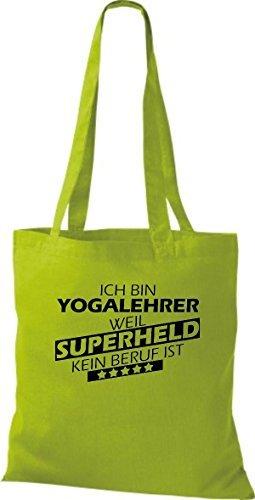 Shirtstown Sac en tissu Ich bin Professeur de yoga, parce que Superheld aucun Occupation est Kiwi