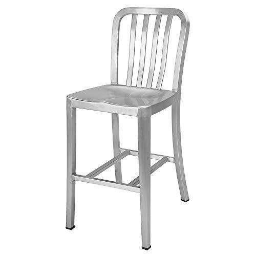 Renovoo Barhocker aus Aluminium, gebürstetes Aluminium-Finish, 61 cm Sitzhöhe, Innen- und Außenbereich, 1 Stück -