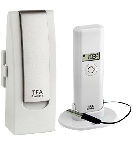 TFA Dostmann WEATHERHUB Observer Web Monitoring System mit Thermo-Hygro-Sender mit Profi-Temperatur-Kabelfühler, weiß