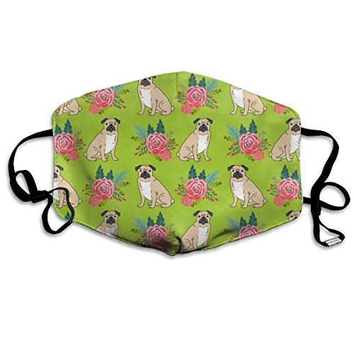 Pug Flowers, Florals, Blumenstrauß, Painted Floral, Pug Pug, Pug, Pug, Girls Nursery Baby Anti Dust Mask Washable Wiederverwendbar Mouth Masks